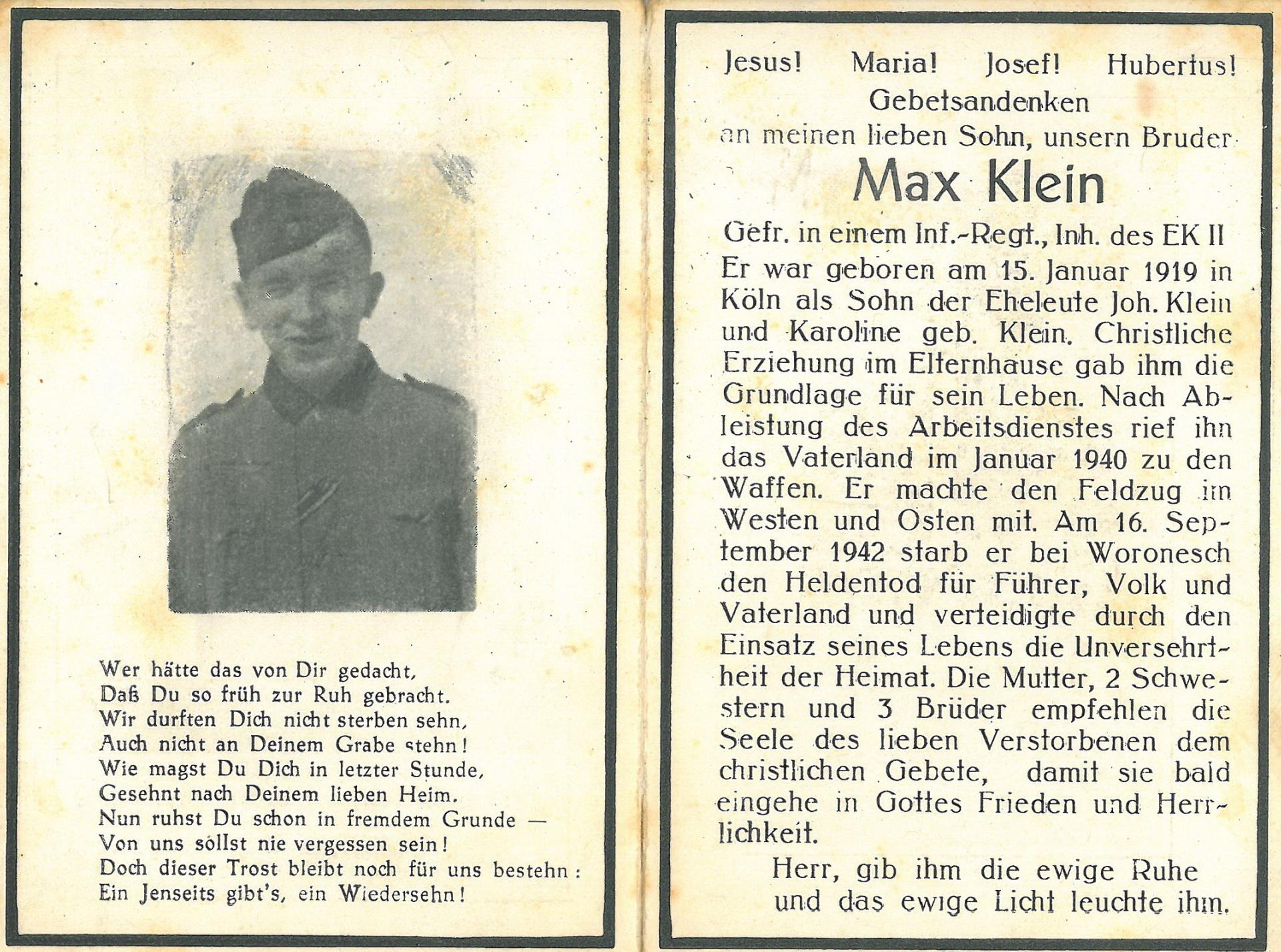 Max Klein, gefallen in Woronesh