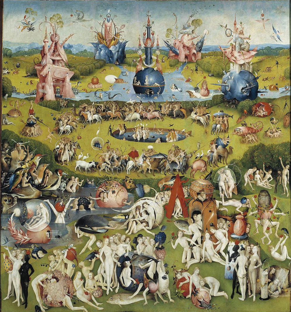 """Mittelbild des Triptychons """"Der Garten der Lüste"""" von Hieronymus Bosch"""