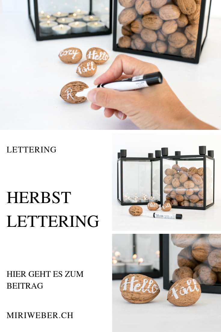 DIY BLOG SCHWEIZ, Herbst, Lettering, schreiben, schön schreiben, Inspiration, Hello FAll, cozy, relax, Lettering Schweiz, Uni Chalk Lettering, Idee, Baumnüsse, Dekoration