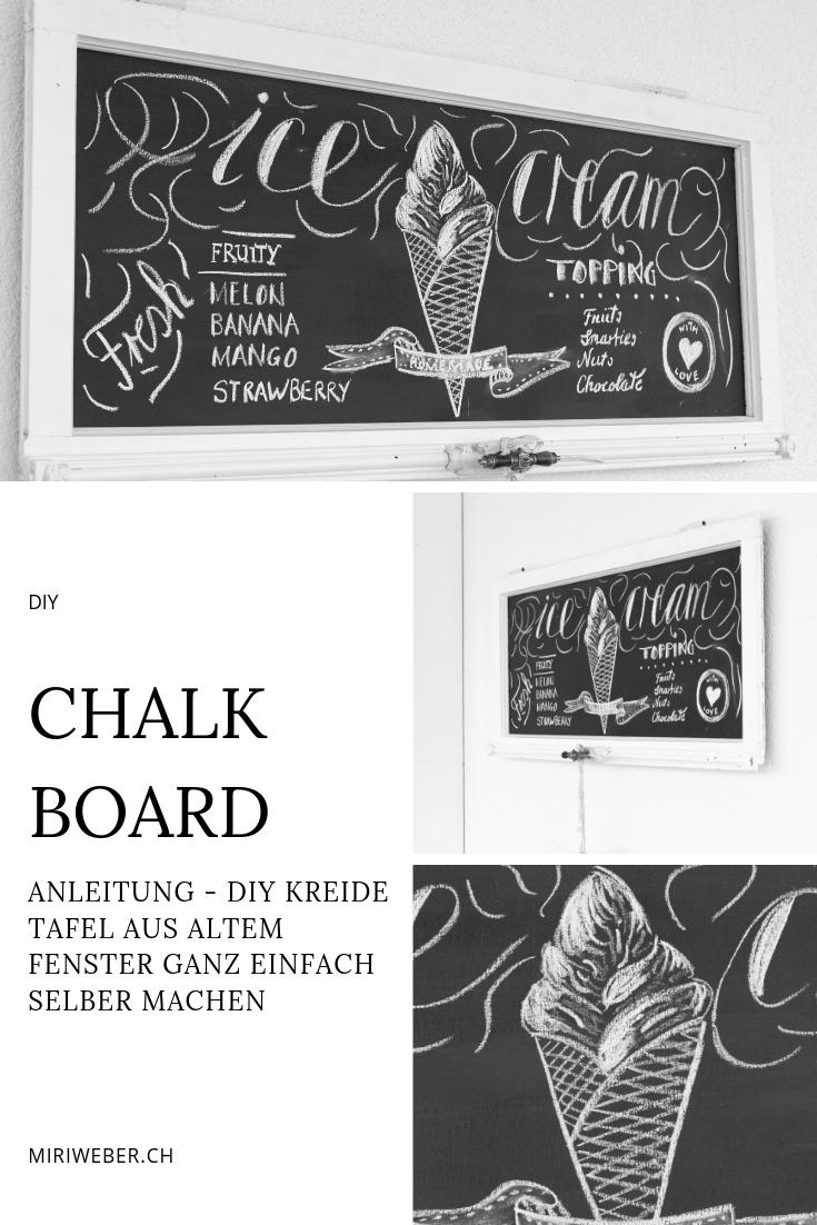 chalk, kreide, wall, tafel, chalk board, selber machen, DIY, kreide tafel, kreativ, blog, diy blog schweiz, upcycling, shabby fenster, glace, sommer chalk board, summer chalk board, ice cream, glace karte lettering, Bastel Blog aus der Schweiz