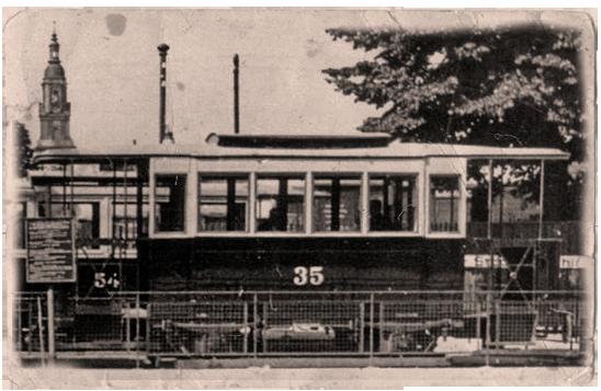 Ehemaliger Pferdebahnwagen am Hauptbahnhof in den 1920er Jahren | Foto: P. Boehm