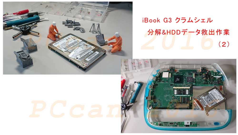 Macの可愛いクラムシェルを分解しHDDを取り出した、PCcanサービスのイメージ図です。