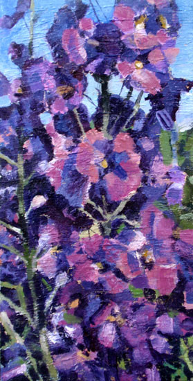 Pink hollyhocks, oil on canvas, 12 x 24, sold