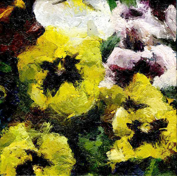 Pansies, oil on canvas, 10 x 10 (sold)