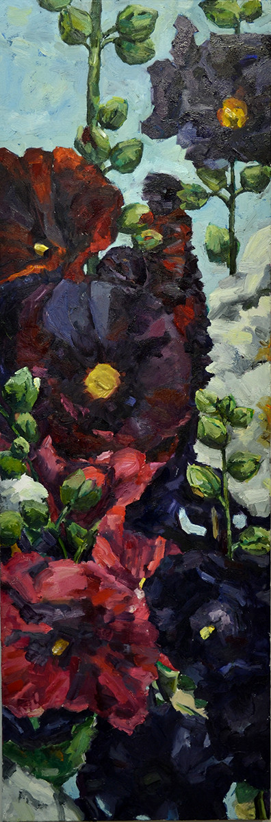 "Hollyhocks, 20"" x 60"""
