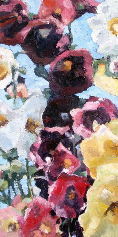 "Hollyhocks, oil on canvas, 12 x 24"", sold"
