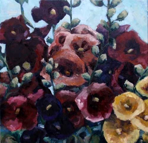 Hollyhocks, seed pack series, oil on canvas, 38 x 38, sold