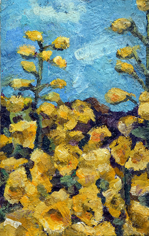 Yellow Delphiniums, oil on board, 8 x 12.5
