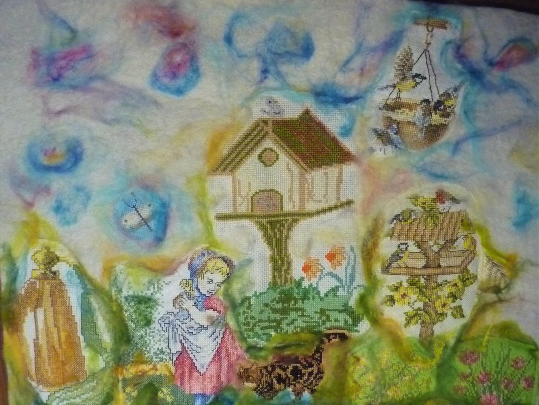 vogelhuis Trudy Michels vintage boduurwerk, punchen  en borduren