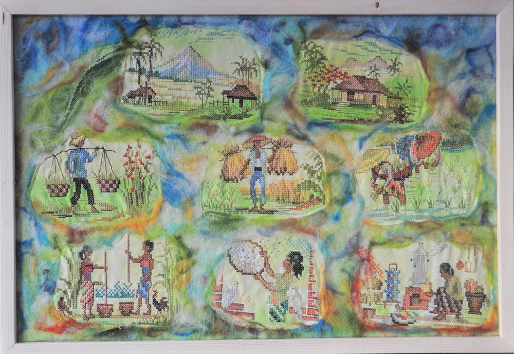 collage oosterse impressie Trudy Michels vintage boduurwerk, punchen  en borduren