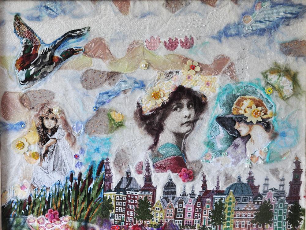 collage portret Trudy Michels Michels vintage boduurwerk, punchen  en borduren