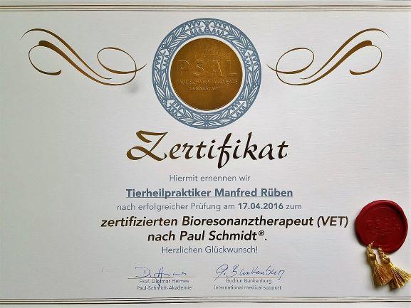 Zertifikat Bioresonanz