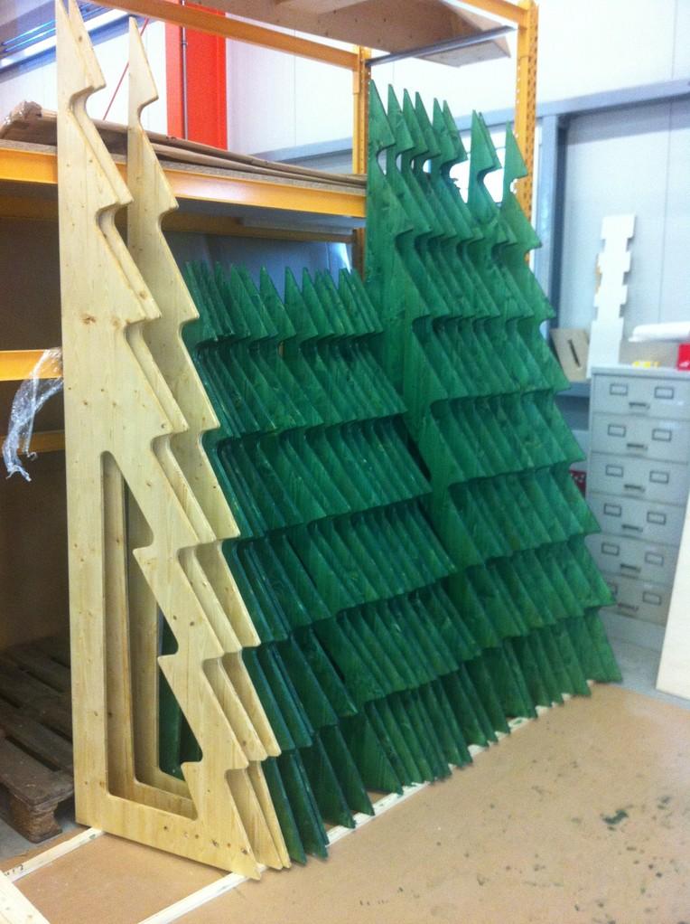Unsere größten WooTrees (180cm, 250 cm) beim Trocknen