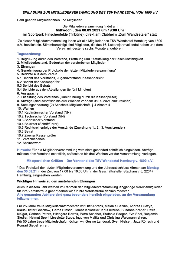 Einladung Mitgliederversammlung und Vorschlag Satzungsänderung