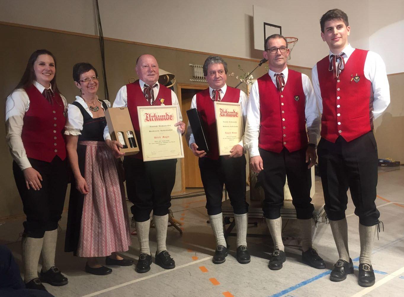 Bianca Beer, Vzbgm. Gertrude Täubler, Ulrich Mayer, Leopold Steiner, Kapellmeister Franz Wieser, Obmann Martin Zehetner