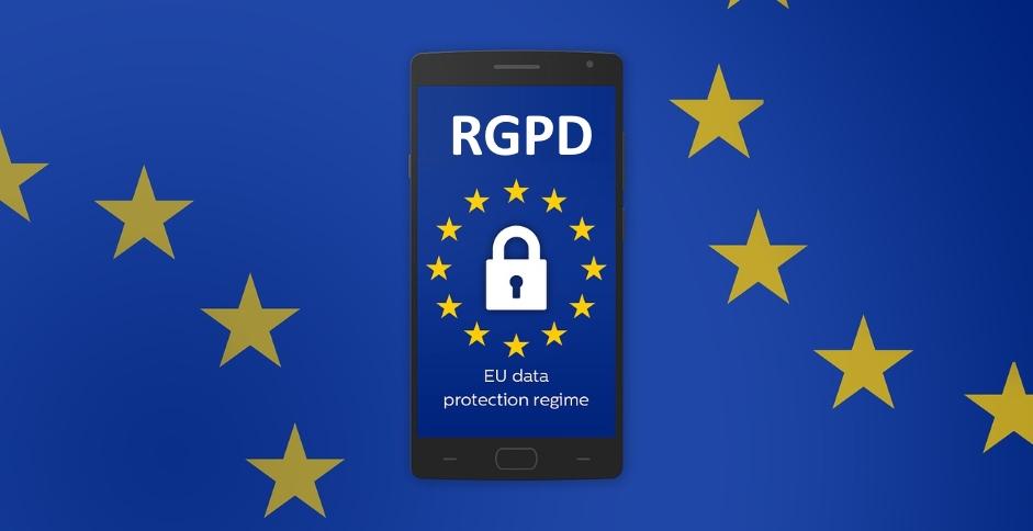 """Illustration d'un smartphone avec l'inscription """"RGPD"""", le règlement européen qui va freiner les effractions digitales"""