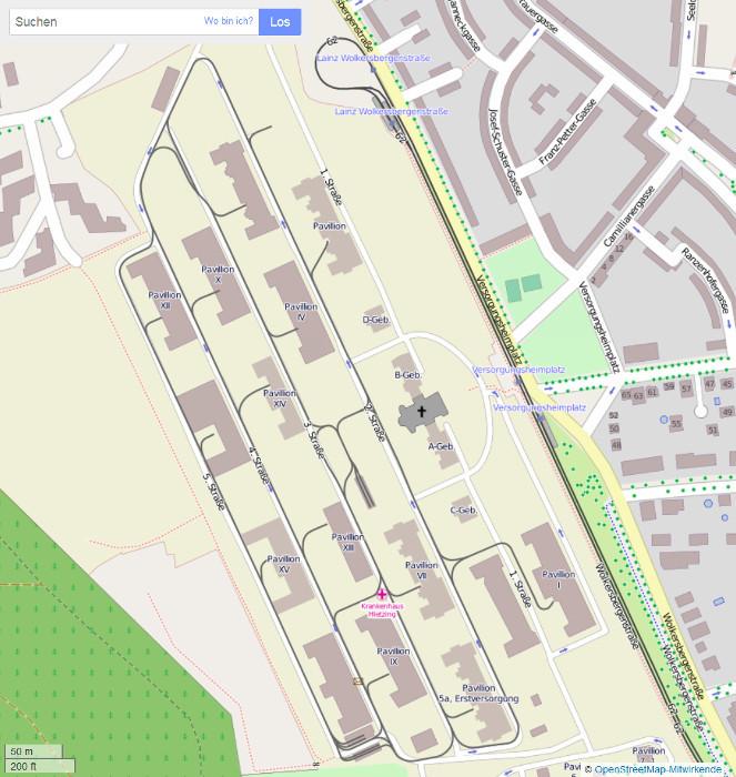Streckenplan der ehemaligen Feldbahn Geriatriezentrum am Wienerwald
