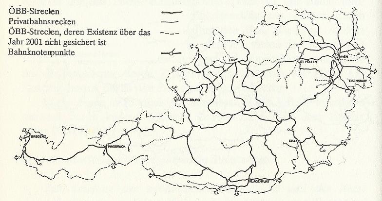 Österreichisches Eisenbahnnetz mit Personenverkehr, voraussichtlicher Stand 1992; Quelle: unbekannt
