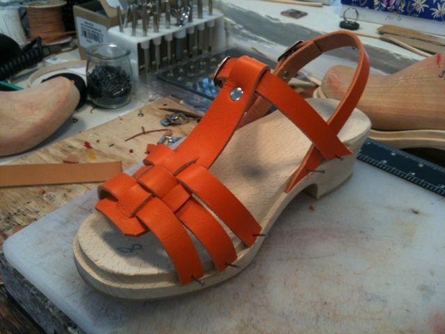 Sandale semelle de bois