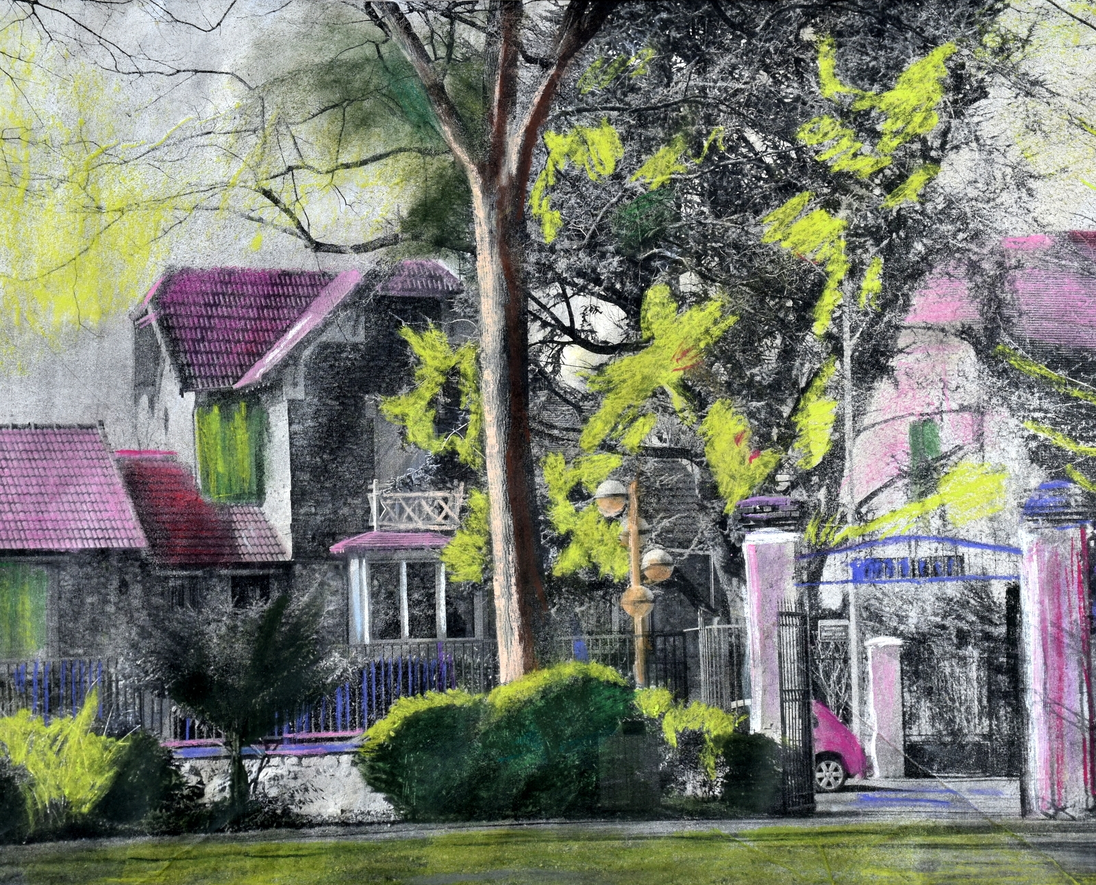La villa mauve - Techniques mixtes - Maud WERY