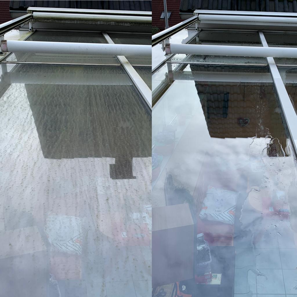 Terrassendach Reinigung vorher nachher