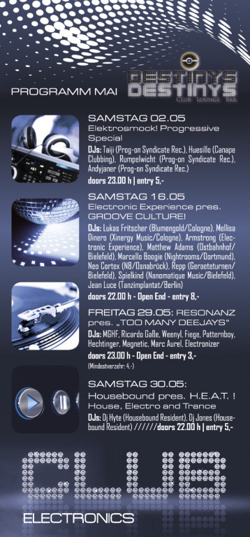 Monatsflyer Club DESTINYS, Bielefeld