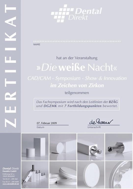 "Zertifikat Dental Direkt ""weiße Nacht"""