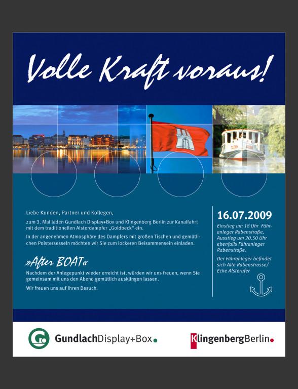 Anzeige Alster-Bootsfahrt, Gundlach Display+Box/Klingenberg Berlin