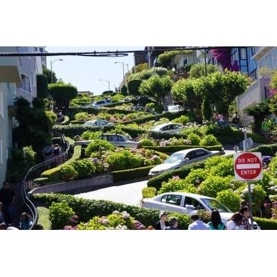 ロンバードストリート。「世界一曲がりくねった坂道」で有名なところです。