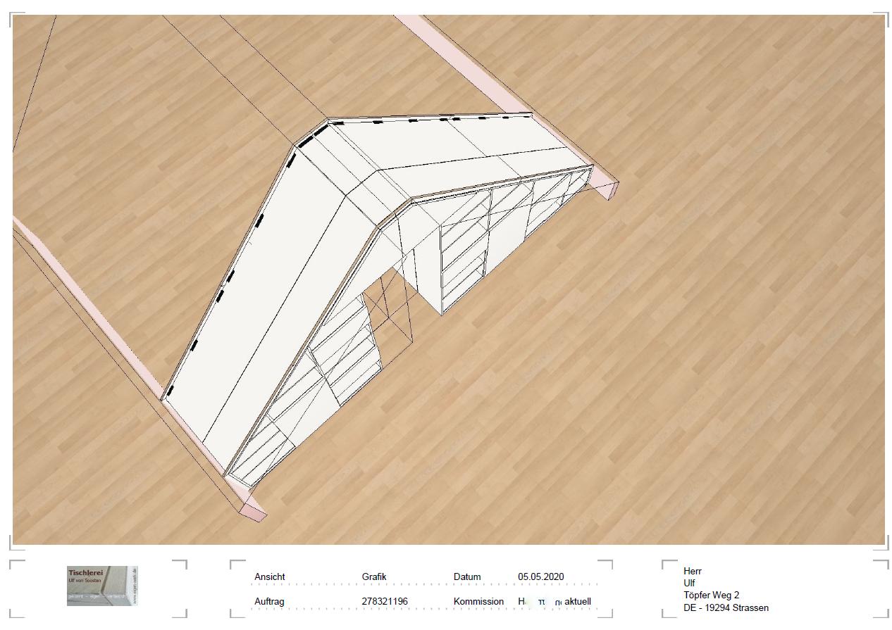 Konstruktionszeichnung für digital gefertigte Einbauschränke