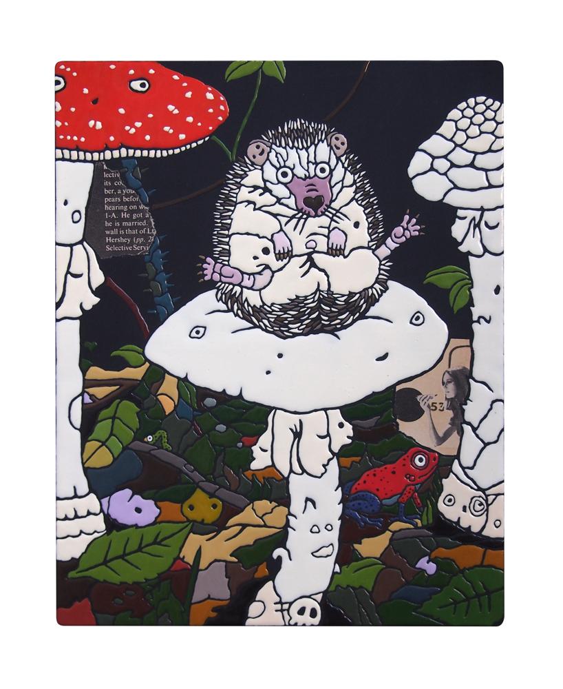 「食べるな危険」アクリル・他/木製パネル 273×220mm