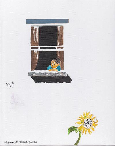 「外を眺める女の子」 27.3x22cm  インク・アクリル/キャンバス