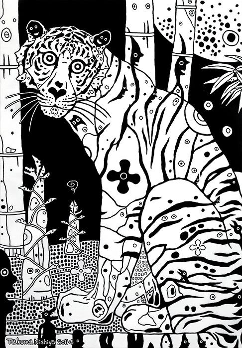 「Enter the Tiger」 1167x803mm アクリル・他/木製パネル
