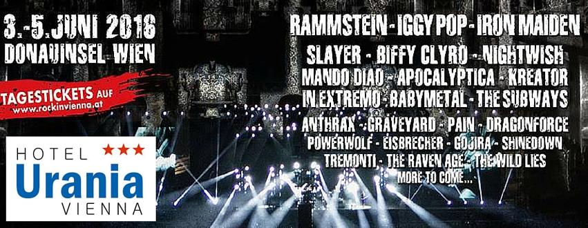 """Hotel Empfehlung Urania Nähe Donauinsel - Das Rock in Vienna Festival zweite Jahr etwas Neues einfallen lassen: Zehn Acts werden auf einer dritten Bühne, der """"Jolly Roger Stage"""" auftreten."""