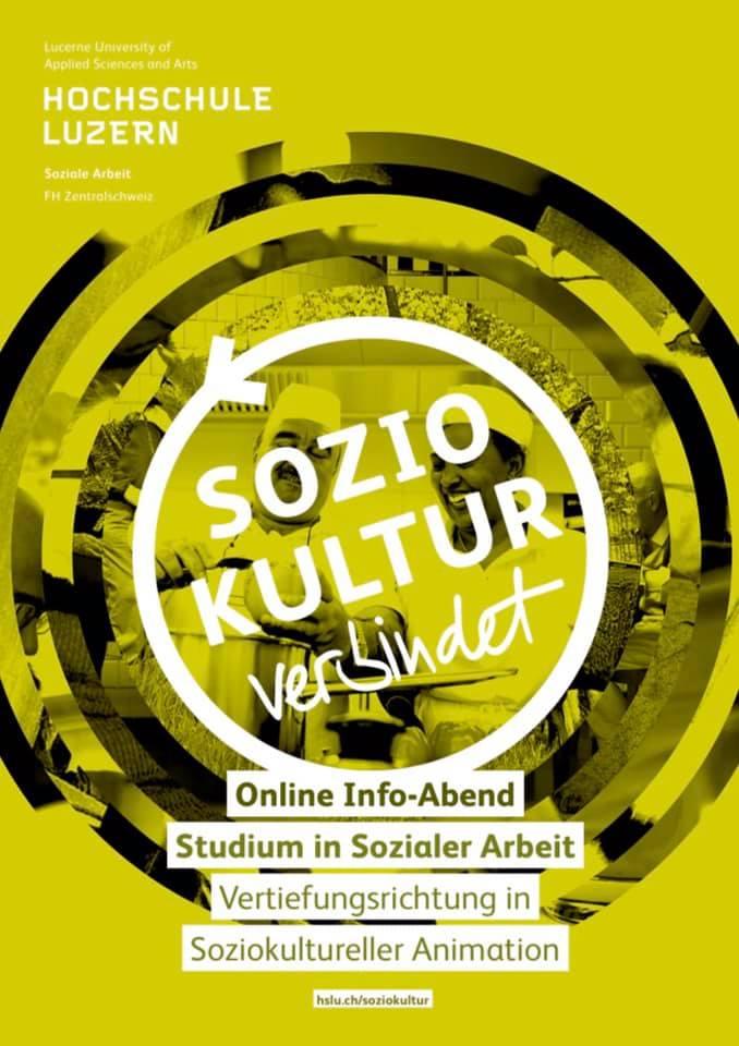 2020: Info-Abend Hochschule Luzern für Interessierte an einem Studium in Soziokultureller Animation: Wir sind mit dabei