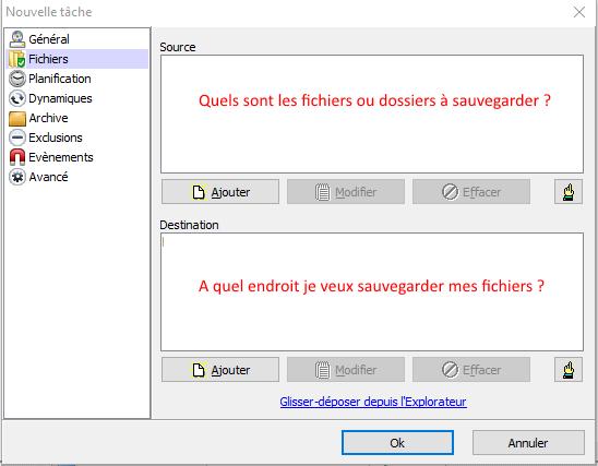 Quels sont les fichiers ou dossiers à sauvegarder ?