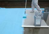 防水工事(ウレタン塗膜防水密着工法)補強布貼り