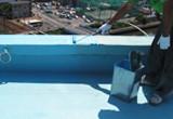 防水工事(ウレタン塗膜防水密着工法)防水層1層目塗布