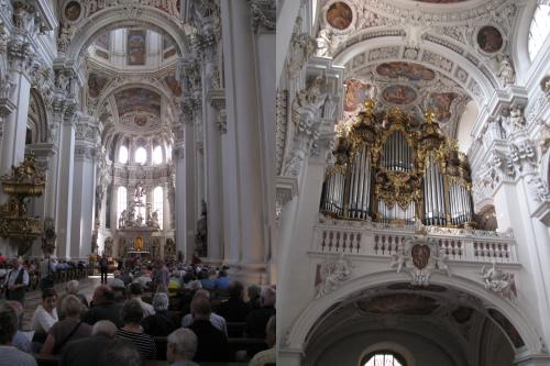 Innenraum des Passauer Stepansdomes und Blick auf die Hauptorgel