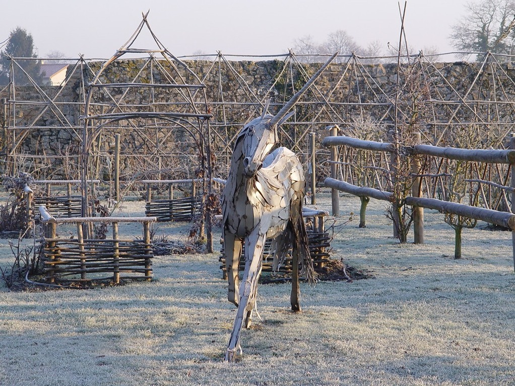 The medieval potager in winter. Tennessus medieval castle B&B