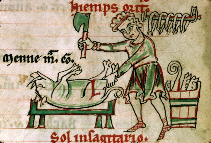 Découpage de la viande, Psautier cistercien, Besançon - BM - ms. 0054 - f. 006, vers 1260