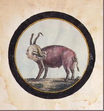 Louis XVI en cochon, caricature attribuée à Villeneuve, 1791,collection particulière.