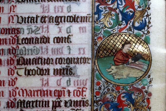 Découpe du cochon, Heures à l'usage des Antonins, Clermont-Ferrand - BM - ms. 0084 - f. 011, troisième quart du XVème siècle.