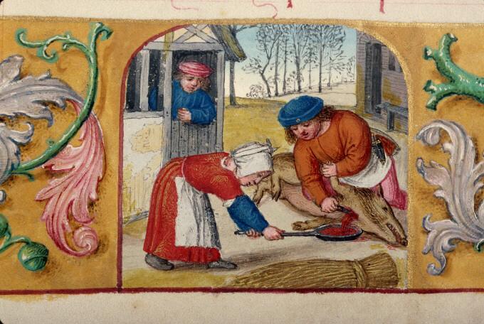 Saigner le cochon, Heures à l'usage de Rome, Rouen - BM - ms. 3028 - f. 012v, origines : Flandre, 1510-1525