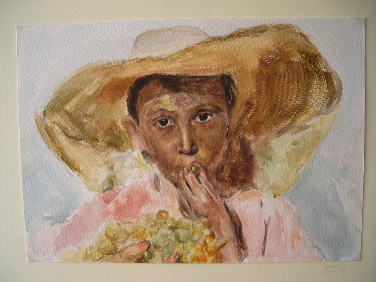 Niño comiendo uvas. Reproducción obra de Joaquín Sorolla. Acuarela/papel.