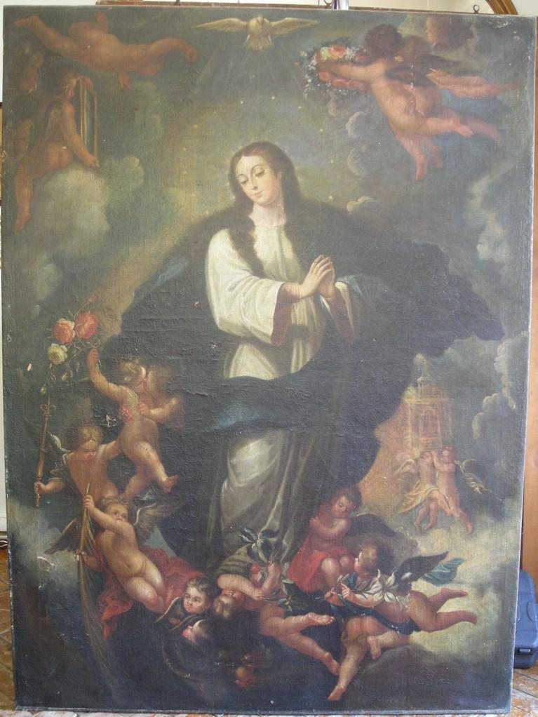Inmaculada Concepción, de Andrés López Caballero. Óleo/lienzo. Estado inicial.