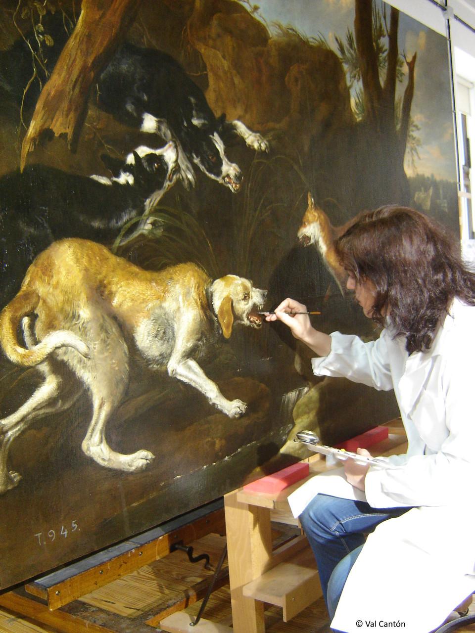 """""""Cacería de zorros por perros"""", atribuida a Jan Fyt. Óleo/lienzo. Museo Nacional del Prado. Reintegración cromática."""