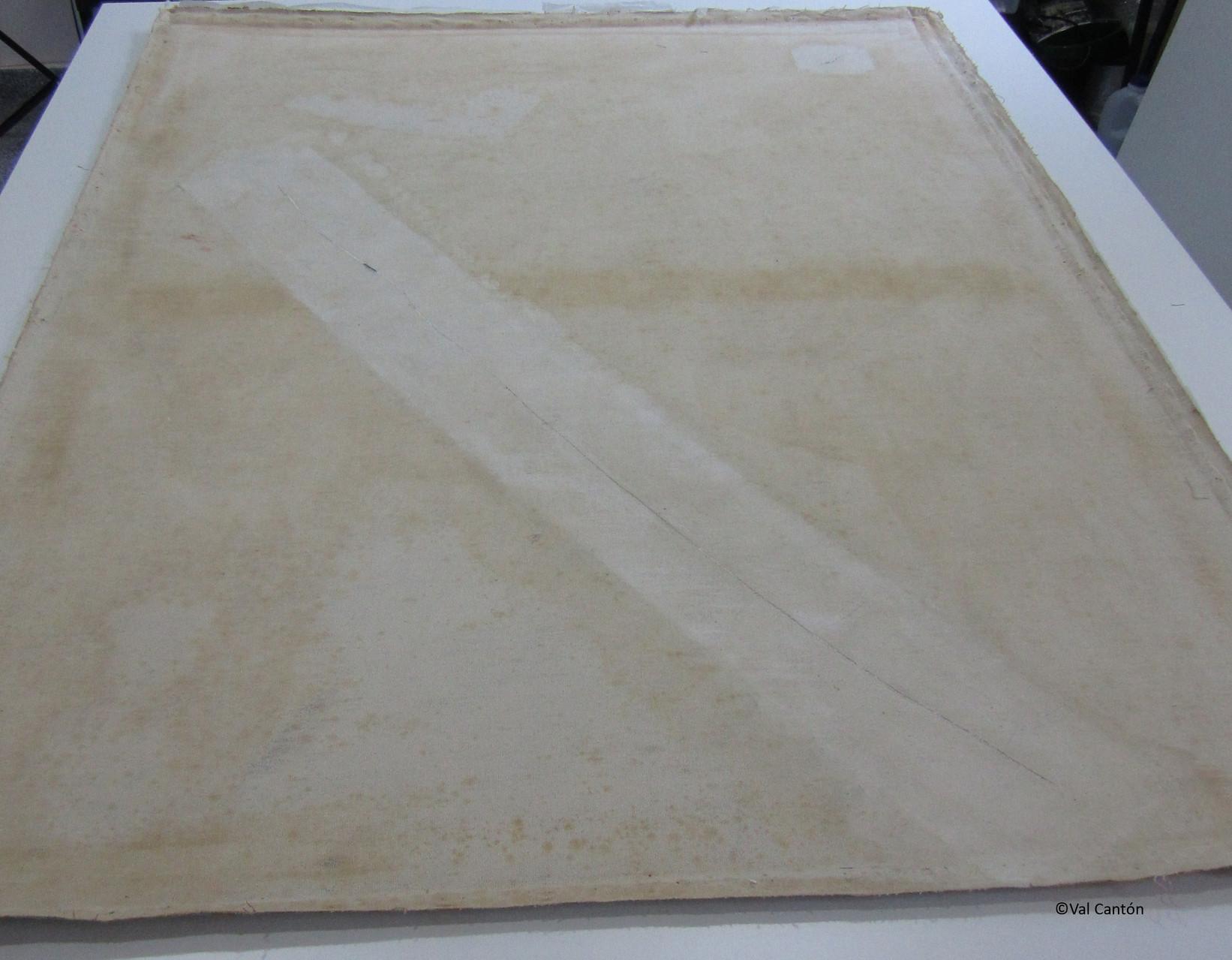 Estado después de la eliminación de los parches de tela.