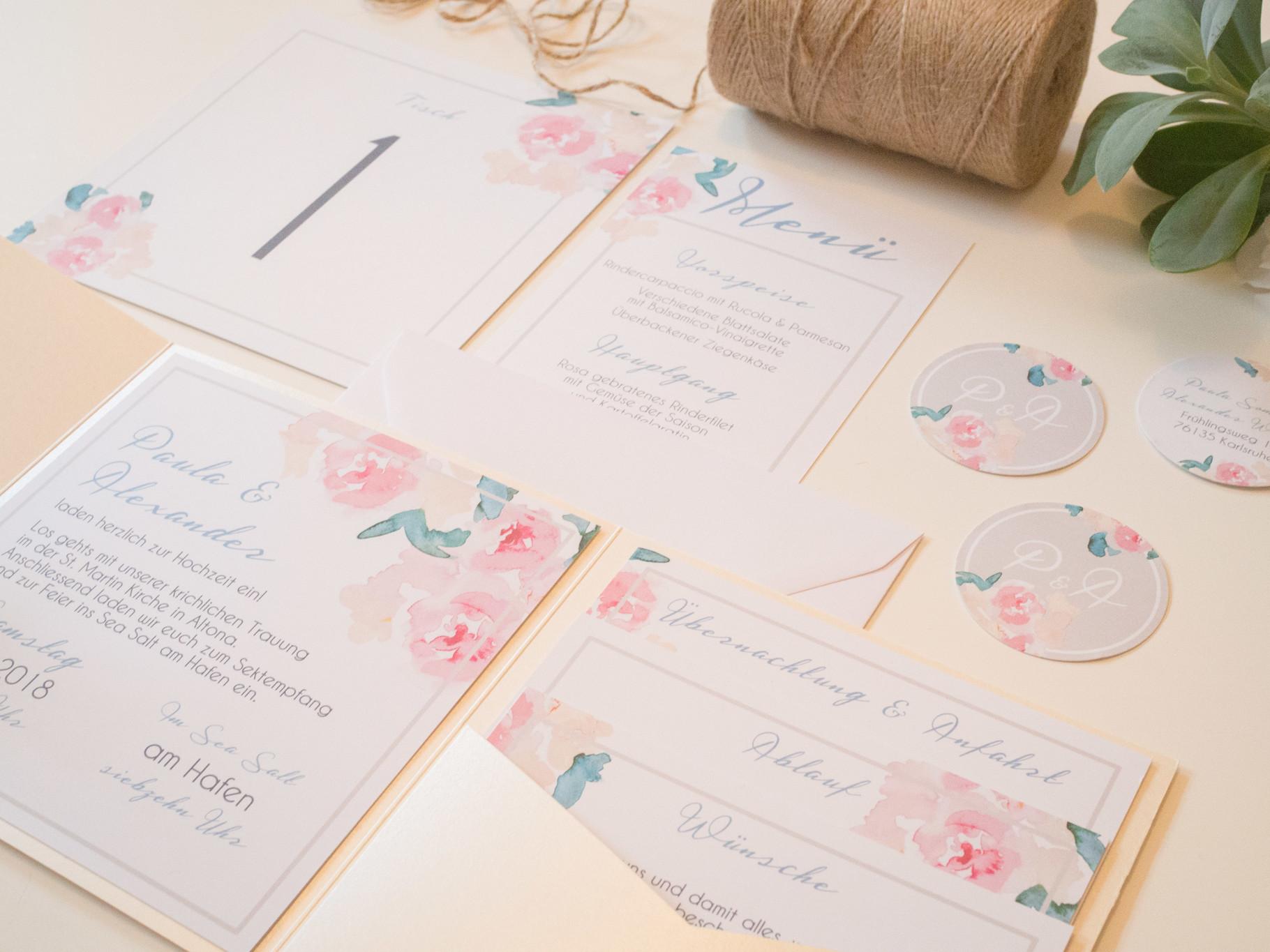 Pocketfold Einladung Pastel Flowers Juhu Papeterie Liebevoll