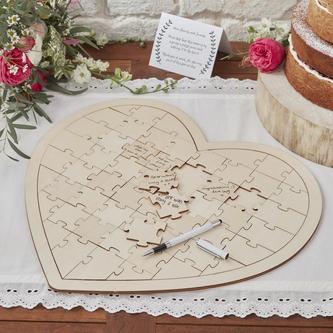 Puzzleherz als Hochzeitsgeschenk und Gästebuch